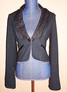 FREE PEOPLE Black Tuxedo Style Lace Lapel Cropped Short Lined Blazer Size S/P