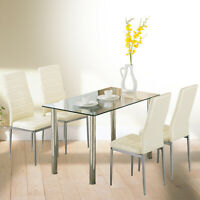 5 Pcs Dining Set Glass Table and 4 Leather Chair Dining Room Kitchen Furniture