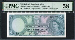 Fiji 1965, 5 Shillings, P51e, PMG 58 AUNC
