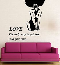 Wall Stickers Vinyl Decal Beautiful Woman Black Lady Love Romance Girl (ig1611)