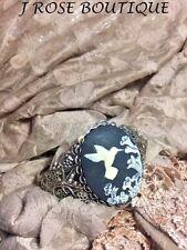 ANTIQUE WHITE BLACK Silver cuff bracelet VICTORIAN JEWELRY CAMEO HUMMINGBIRD