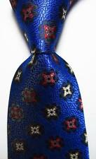 New Classic Geometric Blue Red White JACQUARD WOVEN 100% Silk Men's Tie Necktie