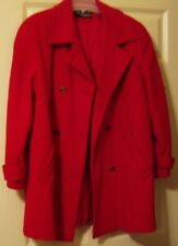 Noble Fashions Womans L Vintage Wool Blend Red Winter Coat