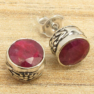 Hot Selling 925 Silver Plated Simulated Ruby ART Earrings Decorative Jewellery