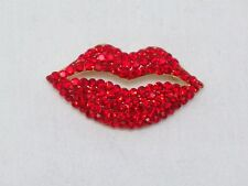 NEW Brilliant Red Lips Valentine Pin Brooch Pave Brilliant Swarovski Crystals