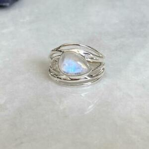 Solid 925 Sterling Silver Natural Rainbow Moonstone Ring Jewelry US Size 8 NN-01