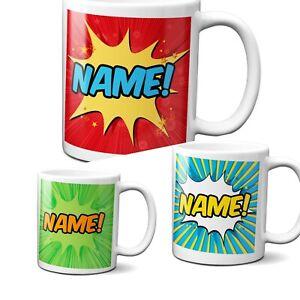 Personalised Comic Style Superhero Children Coffee Tea Mug Gift 11oz Ceramic