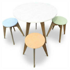 Rustic Wooden Cafe Style Dining Table Round 6 Seater Recycled Solid Timber Top
