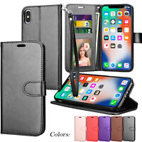 For iPhone Xs Max XR Flip Pouch PU Leather Credit Card Holder Stand Wallet Case