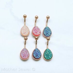 14CT ROSE GOLD IP SURGICAL STEEL DRUZY QUARTZ LARGE TEAR BELLY BUTTON NAVEL RING