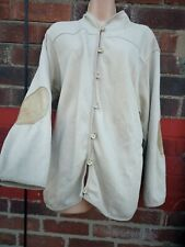 ORVIS Size XL beige natural Buttons Cardigan pockets elbow patches leather