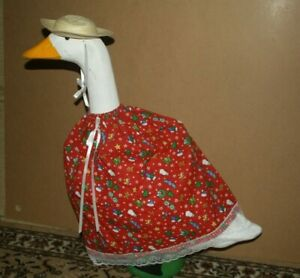 Goose Dress Red Christmas sleigh, hats snowman Material