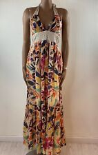 FRENCH CONNECTION Multicolour Cotton Floaty Halter Maxi Dress Boho Size 10