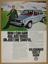 1980 paul hornung silver car photo VW Volkswagen RABBIT vintage print Ad