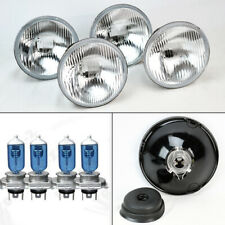 "FOUR 5.75"" 5 3/4 OE Style Round H4 Glass Headlight Conversion w/ Bulbs Set Ford"