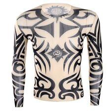Men's Casual Fitness Long Sleeve Fake Tattoo Printed Tops T-shirt Nightclub Wear