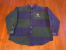 VTG 90's Tommy Hilfiger Crest Logo Navy Blue Green Striped Button Shirt sz L