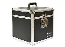"12"" LP Vinyl Record Aluminium DJ Flight Carry Case Black Holds 100 High Quality"