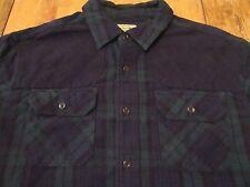 Vintage LL BEAN LS Plaid Elbow Shoulder Patch Hunter Buttonfront Shirt Size L