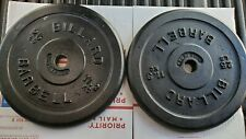 """TWO 25 Lb BARBELL WEIGHT PLATES STANDARD 1"""" HOLE 50 POUNDS TOTAL"""
