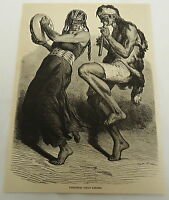 1878 magazine engraving ~ INDIAN DANCERS of Patagonia
