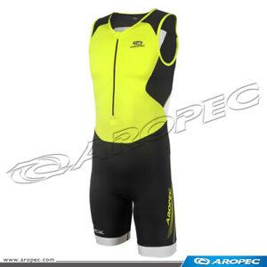 Aropec Mens Compression LIME Triathlon Lycra Suit Swim Run Cycle Size L