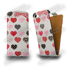 Red heart Graphic Prints Flip leather case for smart phone Samsung Sony Apple UK