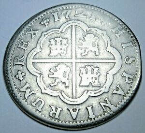 1721 Spanish Silver 2 Reales Genuine Antique Colonial 1700's Two Bit Pirate Coin