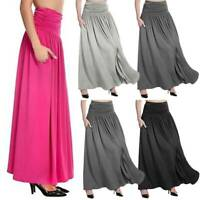 Womens Fashion Gypsy Smocked Waist Maxi Long Skirt Solid Dress Bottom Plus Size