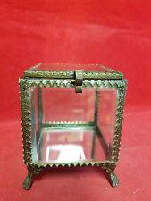 *Absolutely Beautiful Beveled Glass-fancy bronze metal Jewelry box-keepsake