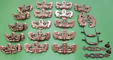 Lot of 16 Brass Handles 2 Knobs w/ Accents 2 Pull Handles Matching Vintage Brass