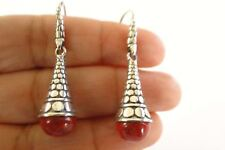 Red Coral Solitaire Cone Shaped 925 Sterling Silver Dangle Drop Earrings