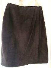 Lord & Taylor Womens Skirt Sz 4 Black Pencil Suede Knee Length Career Faux Wrap