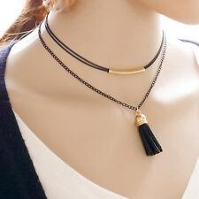 Women Fashion Lace Choker Collar Double Layer Tassel Shaped Pendant vnc7 cayhh