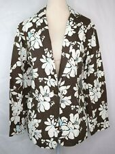 Lands End Brown White Floral 100% Linen Jacket Womens Size 8 Blazer Classic