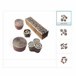 Trendy Patterns Wooden Henna Stamps for Printing on Body Fabric Textile Paper