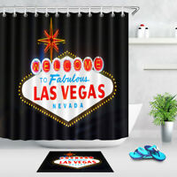 Welcome To Las Vegas Sign Polyester Fabric Shower Curtain Bath Accessory Sets
