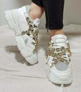 NEW WOMEN'S SHOES REMOVABLE CRYSTAL STRAP SNEAKERS CHUNKY HIDDEN HEEL PLATFORM