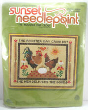 Sunset Needlepoint Kit Rooster May Crow but Hen Delivers Goods 6960 Vtg B8