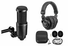 Audio Technica AT2020 Studio Microphone-Cardioid Condenser Mic + Headphones