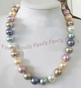 12mm Pink Blue White Multi Color South Sea Shell Pearl Round Beads Necklace 18''