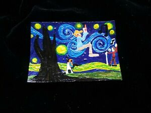 painting PINK FLOYD Syd Van Gogh DRAGON art trading card ACEO Starry Night moon
