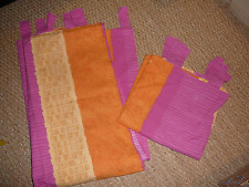 Lot 2 rideaux rose jaune orange pattes coton made in France