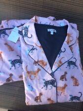 New PJ Salvage Flannel Cat Print Pajama Set XL Top / L Bottoms