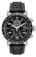 Mens Citizen Eco-Drive Black Leather Black Dial Chronograph Watch CA0649-14E
