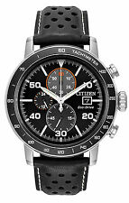 Mens Citizen Eco-Drive Black Leather Black Dial Chronograph Watch CA0649-14E