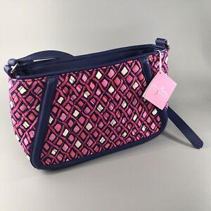 Vera Bradley Crossbody Bag Katalina Pink Diamonds Trimmed Trapeze NWT
