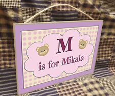 """Personalized Teddy Bear Faces Name Kids Room Baby Nursery 7"""" x 10.5"""" SIGN Plaque"""