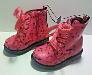 Swiggles Toddler Girl's Pink w/ Butterfly Print Boots - Laces & Zipper - Size: 6