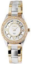 Damenuhr Weiß Silber Gold Analog Strass Edelstahl Armbanduhr D-8112500012895